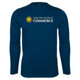 Performance Navy Longsleeve Shirt-Texas A&M University Commerce