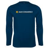 Performance Navy Longsleeve Shirt-AM Commerce
