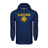 Under Armour Navy Performance Sweats Team Hoodie-Stacked Lions with Head