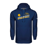 Under Armour Navy Performance Sweats Team Hoodie-Angled Basketball Design
