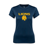 Ladies Syntrel Performance Navy Tee-Stacked Lions with Head