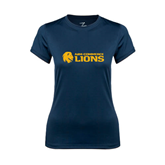 Ladies Syntrel Performance Navy Tee-Flat A&M Commerce Lions