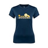 Ladies Syntrel Performance Navy Tee-Soccer Swoosh
