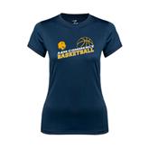 Ladies Syntrel Performance Navy Tee-Angled Basketball Design