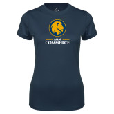 Ladies Syntrel Performance Navy Tee-Mascot AM Commerce