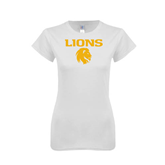 Next Level Ladies SoftStyle Junior Fitted White Tee-Stacked Lions with Head