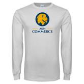 White Long Sleeve T Shirt-Mascot AM Commerce