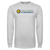 White Long Sleeve T Shirt-Texas A&M University Commerce