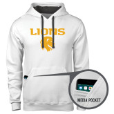 Contemporary Sofspun White Hoodie-Stacked Lions with Head