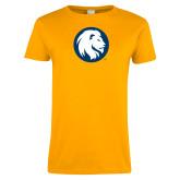 Ladies Gold T Shirt-Mascot Logo