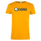 Ladies Gold T Shirt-AM Commerce Lions