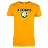 Ladies Gold T Shirt-Lions Mascot