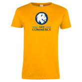 Ladies Gold T Shirt-Primary Distressed