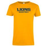 Ladies Gold T Shirt-Lions Basketball