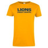 Ladies Gold T Shirt-Lions Cross Country