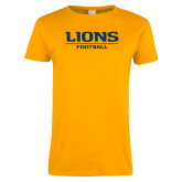 Ladies Gold T Shirt-Lions Football