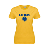 Ladies Gold T Shirt-Stacked Lions with Head