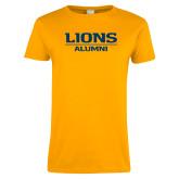 Ladies Gold T Shirt-Lions Alumni