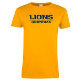 Ladies Gold T Shirt-Lions Grandma