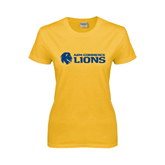 Ladies Gold T Shirt-Flat A&M Commerce Lions