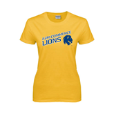 Ladies Gold T Shirt-Angled A&M Commerce Lions