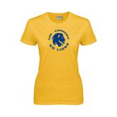 Ladies Gold T Shirt-A&M Commerce Round Design