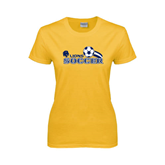 Ladies Gold T Shirt-Soccer Swoosh