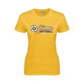 Ladies Gold T Shirt-Softball Script