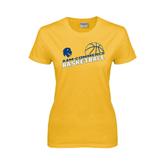 Ladies Gold T Shirt-Angled Basketball Design