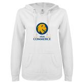 ENZA Ladies White V Notch Raw Edge Fleece Hoodie-Mascot AM Commerce