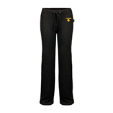 ENZA Ladies Black Fleece Pant-Stacked Lions with Head