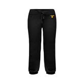 ENZA Ladies Black Banded Fleece Capri-Stacked Lions with Head