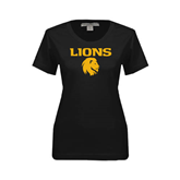 Ladies Black Stretch Scoop Neck-Stacked Lions with Head