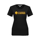 Ladies Black Stretch Scoop Neck-Flat A&M Commerce Lions