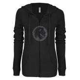 ENZA Ladies Black Light Weight Fleece Full Zip Hoodie-Lion Glitter Graphite Soft Glitter