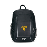Atlas Black Computer Backpack-Stacked Lions with Head
