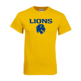 Gold T Shirt-Stacked Lions with Head