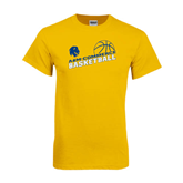 Gold T Shirt-Angled Basketball Design