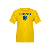 Youth Gold T Shirt-Stacked Lions with Head