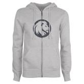ENZA Ladies Grey Fleece Full Zip Hoodie-Lion Glitter Graphite Soft Glitter