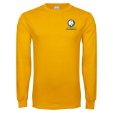 Gold Long Sleeve T Shirt-Mascot AM Commerce