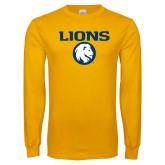 Gold Long Sleeve T Shirt-Lions Mascot