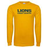 Gold Long Sleeve T Shirt-Lions Cross Country