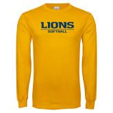 Gold Long Sleeve T Shirt-Lions Softball