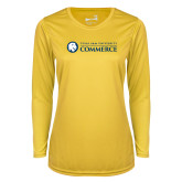 Ladies Syntrel Performance Gold Longsleeve Shirt-Texas A&M University Commerce