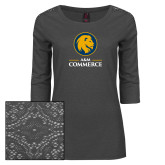 Ladies Charcoal Heather Lace 3/4 Sleeve Tee-Mascot AM Commerce