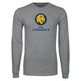 Grey Long Sleeve T Shirt-Mascot AM Commerce