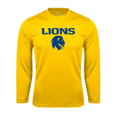 Syntrel Performance Gold Longsleeve Shirt-Stacked Lions with Head
