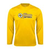 Syntrel Performance Gold Longsleeve Shirt-Softball Script