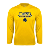 Syntrel Performance Gold Longsleeve Shirt-Track and Field Stacked Ribbon Design